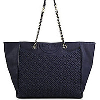 Tory Burch - Fleming Quilted Denim East-West Tote - Saks Fifth Avenue Mobile