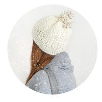 Hand Knit Women Beanie Hat, Winter Wool Hat With Pom Pom In White