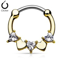 16g Half Circle with Heart Cz 316l Surgical Steel Round Septum Clicker