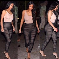 Kim Kardashian Sexy Long Bodycon Jumpsuit Rompers Women 2017 Spring Summer Sleeveless Playsuits