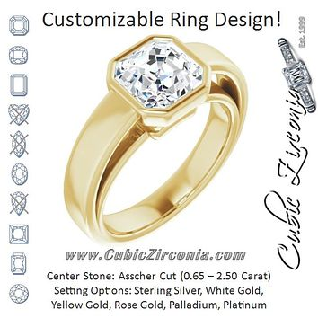 Cubic Zirconia Engagement Ring- The Dunyasha (Customizable Cathedral-Bezel Asscher Cut Solitaire with Wide Band)