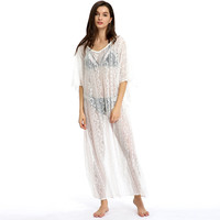 White Sheer Lace Batwing Sleeve Beach Cover-Up