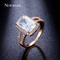 NEWBARK Women Engagement Rings Big Cut Cubic Zirconia Ring Jewelry CZ Paved White Gold Plated For Wedding