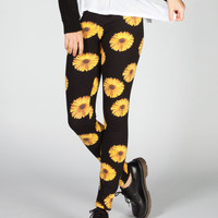 Full Tilt Sunflower Print Womens Leggings Black Combo  In Sizes