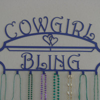 Cowgirl Bling Jewelry And Hair Ribbon Holder Metal Wall Sculpture
