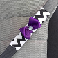 Seat Belt Cover Black and White Chevron with Bow