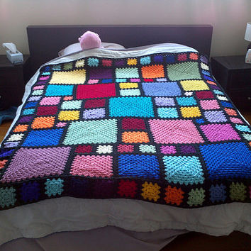 Pattern pdf: ASA Twin 1 - granny squares with an end-saving crochet join and modern layout, RH & LH schematics, twin sized, scrap-ghan