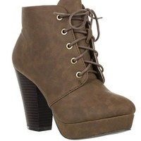 Chunk Heel Lace Up Platform Fashion Ankle Bootie HUXLEY-01