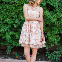 Grace Strapless Pink Rose Dress