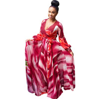 Red Floral Print Long Sleeve Maxi Dress with Belt