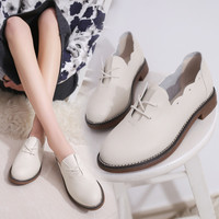 Casual Leather Women Oxford Shoes