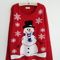 New-arriving Ugly Christmas Sweaters Lovely Snowman Wearing Special Scarf and Gloves Christmas Tree Snowflake Patterned