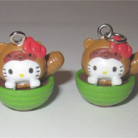 2pc Hello Kitty Charms Lot Squirrel Soup Bowl Miso Green Wholesale Jewelry Making Supplies Sanrio 19mm