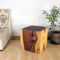 Wooden Cube 18 Oak Oil End Table (Thailand) | Overstock.com