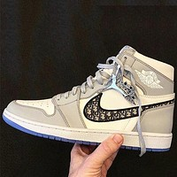 Dior x Air Jordan 1 High OG Fashion Women Men Casual Sneakers Sport Shoes