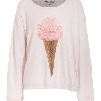 WILDFOX  Breakfast Strawberry Ice Oversize sweater with print - Sweaters & Hoodies