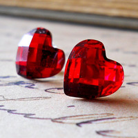Red Heart Earrings Crystals Valentine Red Accessories by waterwaif