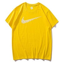 NIke New fashion floral hook print couple top t-shirt Yellow