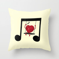 swing a LOVE song Throw Pillow by Steven Toang