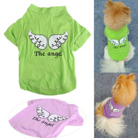 Summer Angel Printed Pet Puppy Small Dog Cat Clothes Vest T-Shirt Apparel = 1929624260