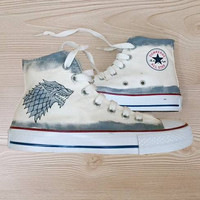 Stark Custom Coverse Shoes - hand painted game of thrones shoes