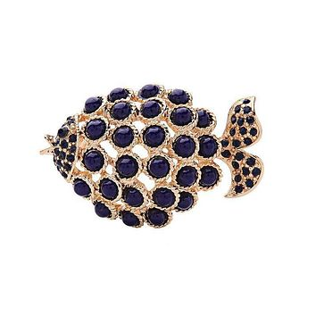 Vintage Style Unique Hollow Out Fish Design Women Brooch