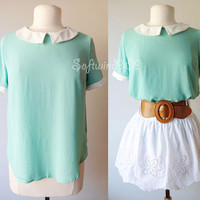 NEW Forever 21 Mint/Ivory Peter Pan Collar Short Sleeve Loose Relax Blouse Top