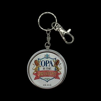 """Opa is the Greatest!"" Metal Round Pill Box Keychain"