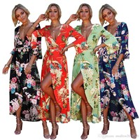 Women Floral Print Flare Sleeves Boho Dress Evening Gown Party Deep V Neck Maxi Dress Summer Sundress Casual Dresses 4 colors