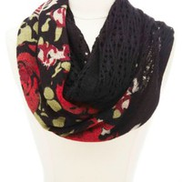 Pointelle & Floral Print Knit Infinity Scarf