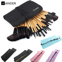 VANDER 32Pcs Set Professional Makeup Brush Set Foundation Eye Face Shadows Lipsticks Powder Make Up Brushes Kit Tools + Bag