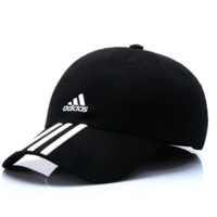Black Adidas Embroidered Cotton Baseball Sports Cap Hats
