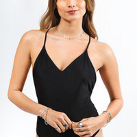 Black Strappy One Piece Swimsuit Bathing Suit