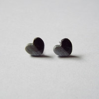 Tiny Black and Silver Heart Stud Clay Earrings