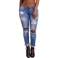 Hole Ripped Jeans For Women High Waist Fashion Girl Boyfriend Skinny Vintage Cool Denim Pants Zipper Slim Pencil Trousers **