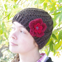 Raspberries & Hot Chocolate ~ Knitted Hat Cloche Hat Crocheted Flower Beanie Accessories Chocolate brown and Red