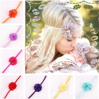 17 Color Chiffon Flower Hair Accessories Baby Girls Lace Headband
