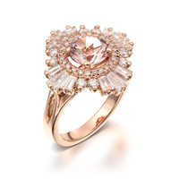 Vintage Engagement Ring 18K Rose Gold Diamonds And Morganite, Art Deco Engagement, anniversary, cocktail,