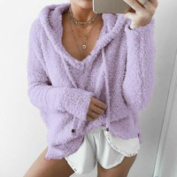 SHUJIN Women Fluffy Mohair Hoodies Autumn Winter Warm Soft Fleece Loose Sweatshirt Casual Drawstring V Neck Pullover Tracksuit
