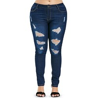 High Waist Zipper Ripped Skinny Jeans for Women 7583