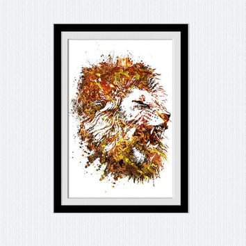 Lion watercolor print Lion colorful poster Safari decor Animal art poster Home decoration Wall hanging art Kids room decor Animal print W466