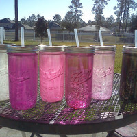Ball Mason Jar Sippy Tumbler - Pinks - White - Black - CHOOSE YOUR COLOR - 24 oz Tumbler