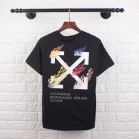 OFF-WHITE Tide brand color flame cross arrow letter couple half sleeve t-shirt black