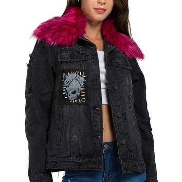 Womens Destroyed Skull Patch Denim Jacket with Removable Fur