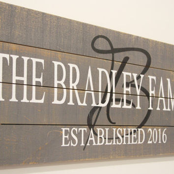 Name Sign Family Name Sign Personalized Sign Initial Sign Pallet Sign Rustic Wedding Gift Bridal Shower Gift Anniversary Gift Housewarming