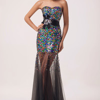 Black Strapless Multicolor Sequins Beads Sheer Lace Maxi Evening Dress