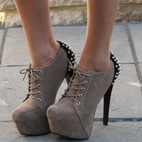 Black lace up leather look ankle boot (Rolland) from Chockers Shoes