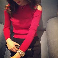 Women knit sweater off shoulder pullover slim tee tops basic t shirt One size Yami = 1946198084