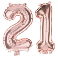 21 Non-Floating Number Balloons - 13 Inch Rose Gold