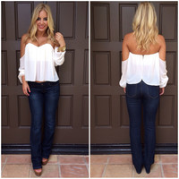 Cascading Off Shoulder Blouse - IVORY